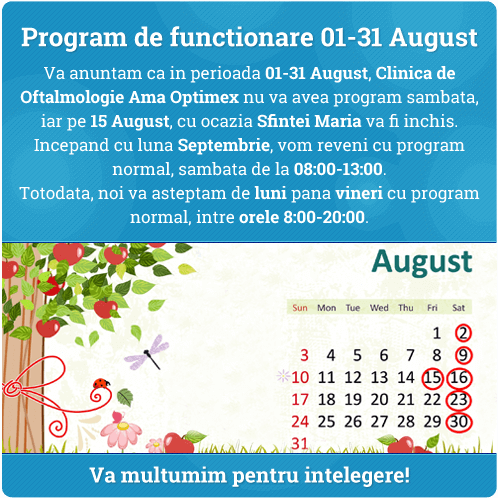 Program de functionare 01-31 August